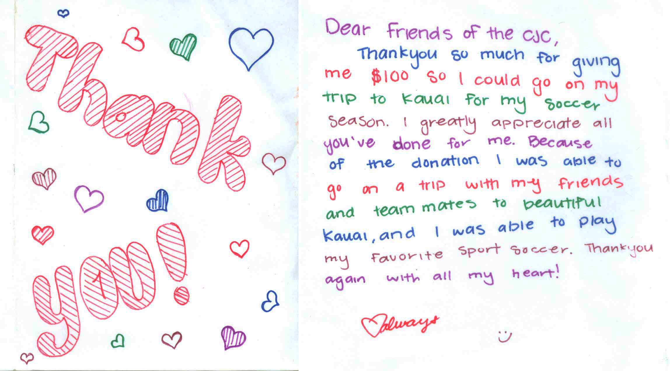 Child Thank you letter 4.