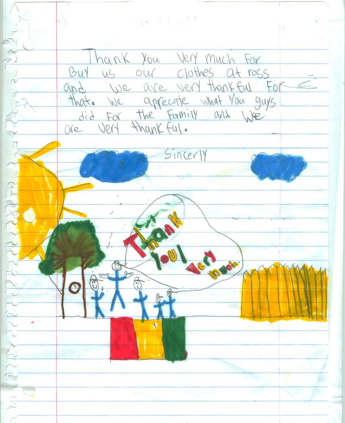 Child Thank you letter 5.
